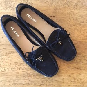 Prada Brown Suede Bow Detail Loafers 9.5 D1